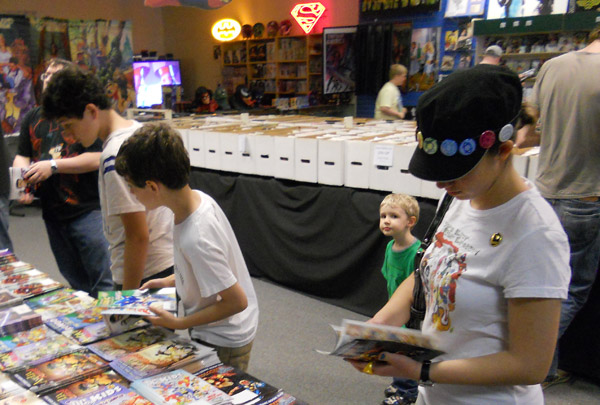 Looking through the comics at Free Comic Book Day