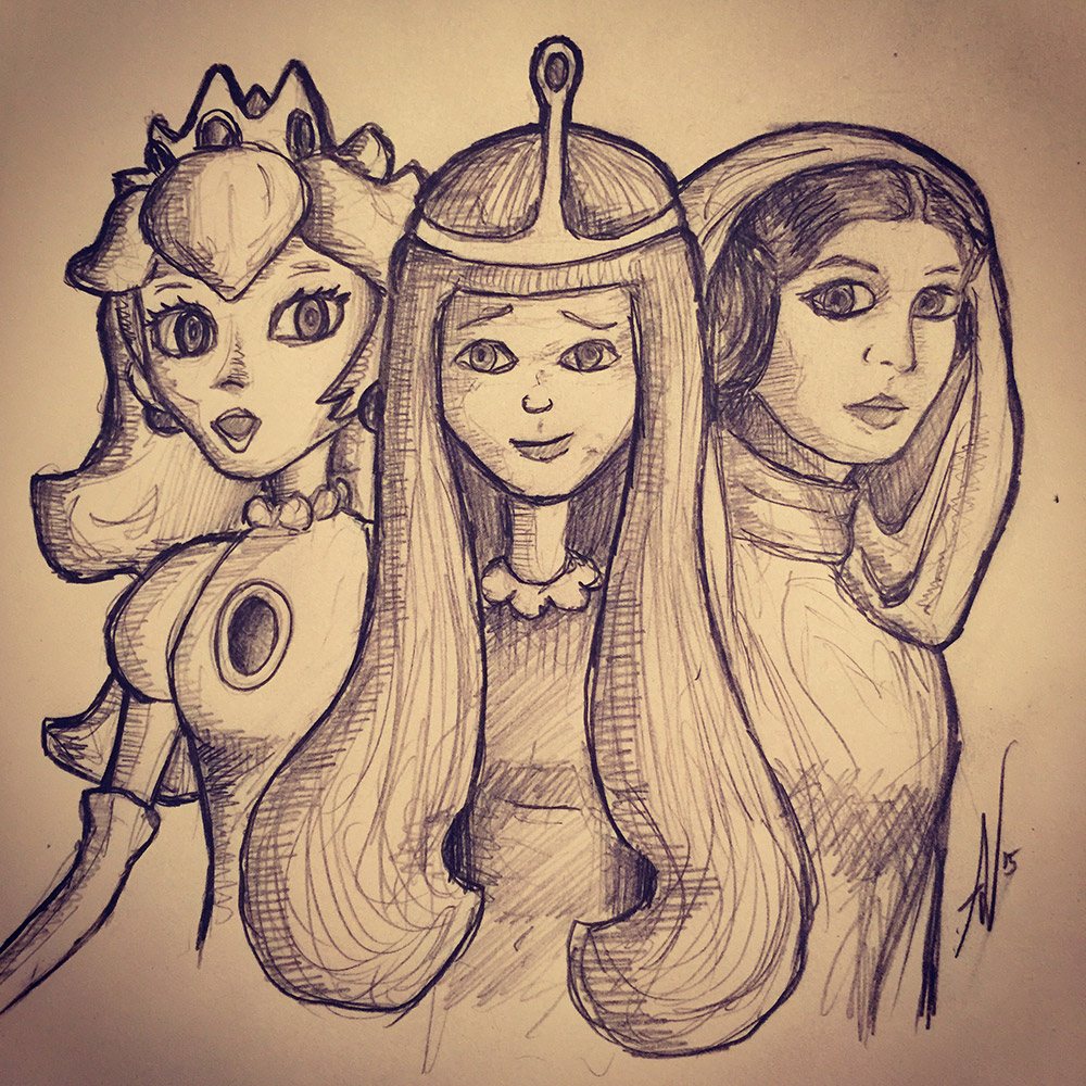Princess Bubblegum, Princess Peach and Princess Leia