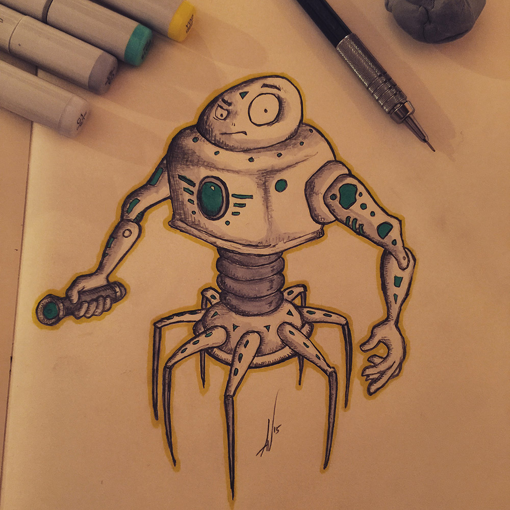 Robot Sketch With a Splash of Copic Color