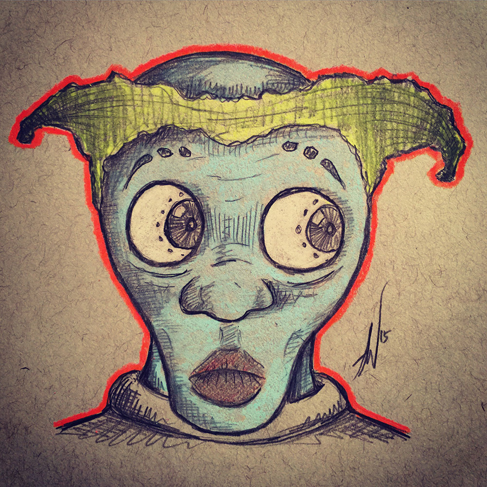 Blue Skinned Yellow Haired Big Eyed Alien Dude