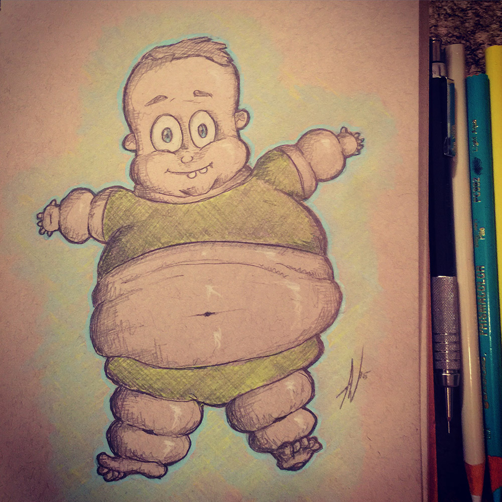 Fat Baby Illustration - Colored Pencils